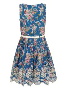 Girl`s floral cut out dress