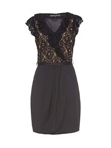 Frill neck lace dress