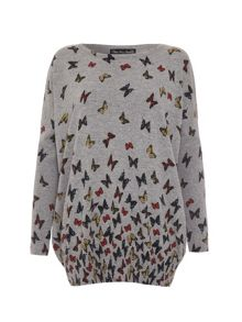Butterfly print jumper dress