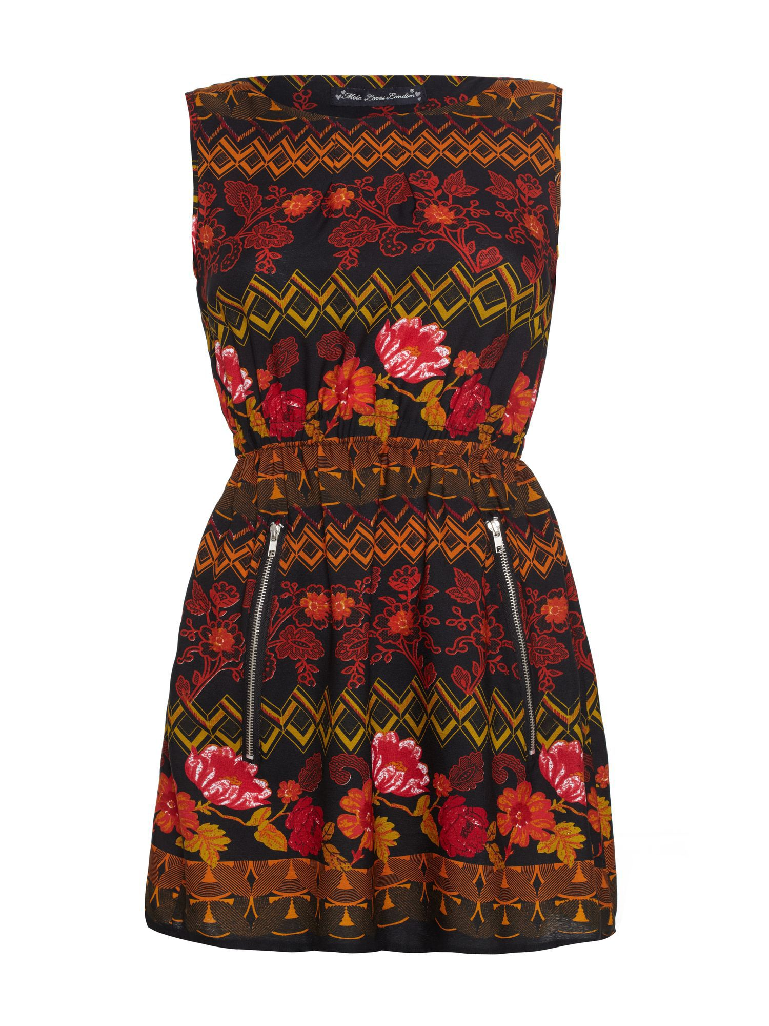 Aztec floral printed zip dress