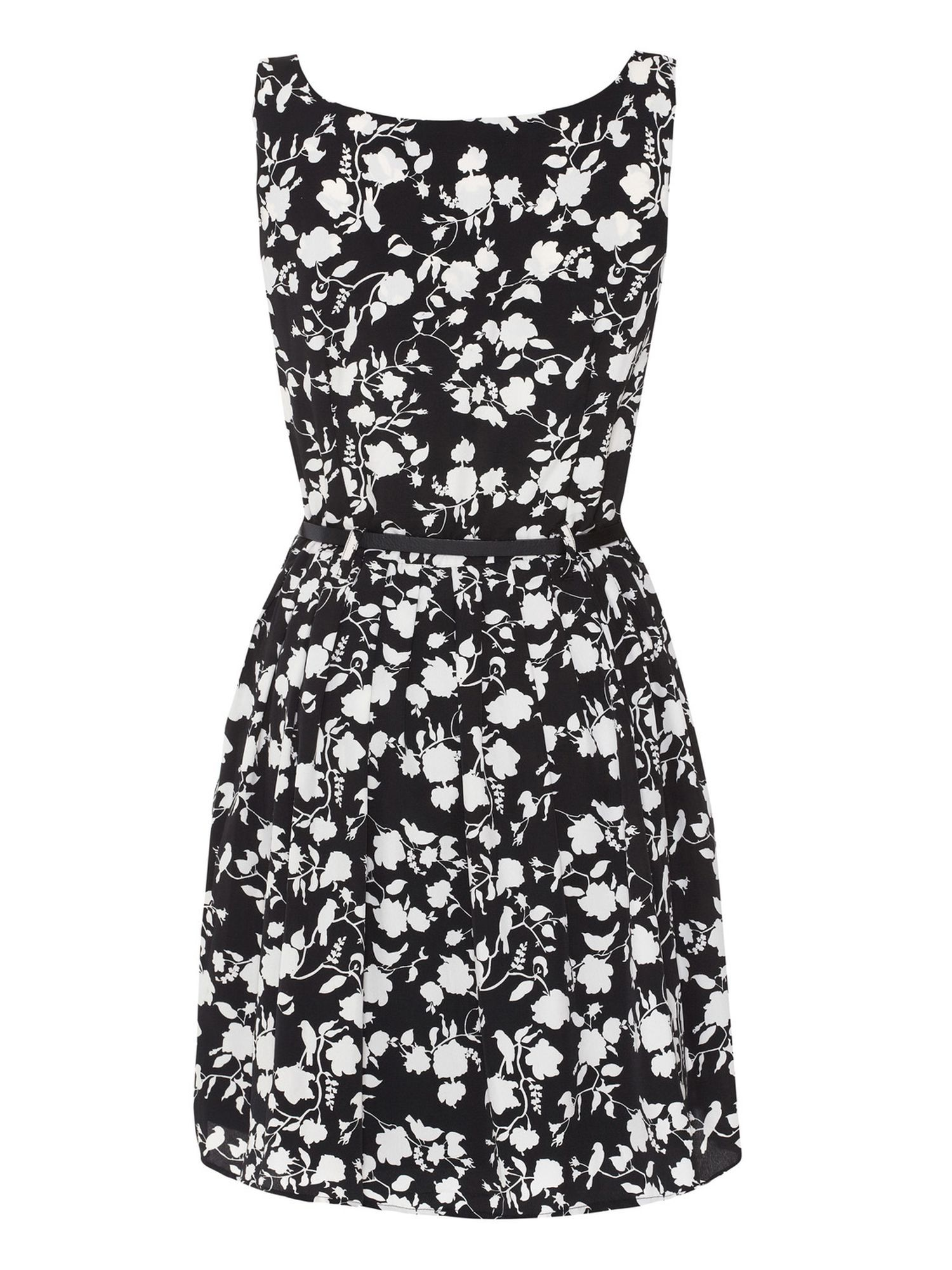 Flower and bird print prom dress