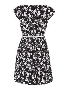 Flower and bird print belted dress