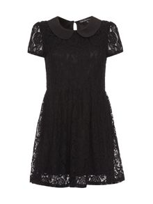 Lace collared short sleeved dress