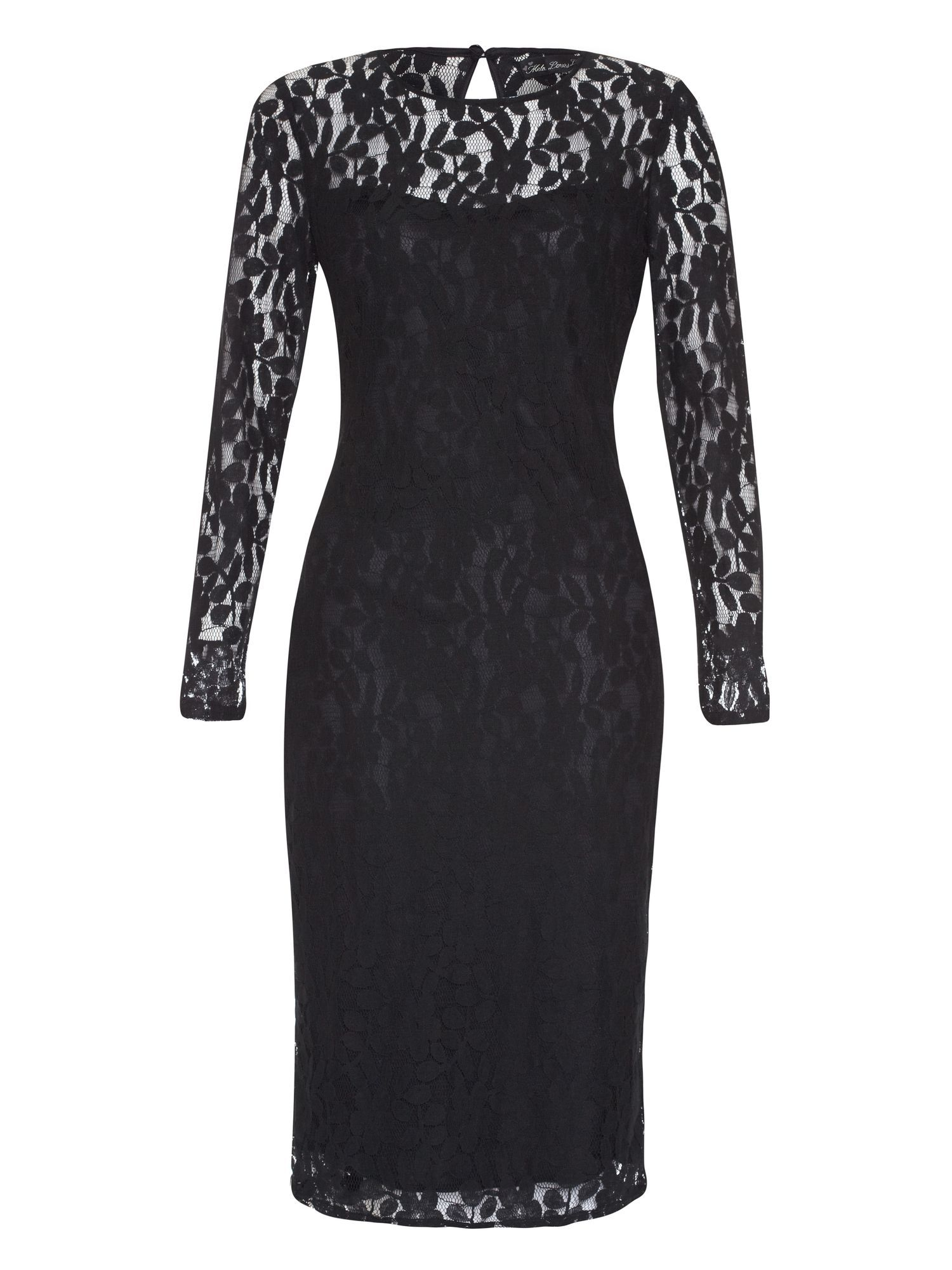 Long sleeved midi lace dress