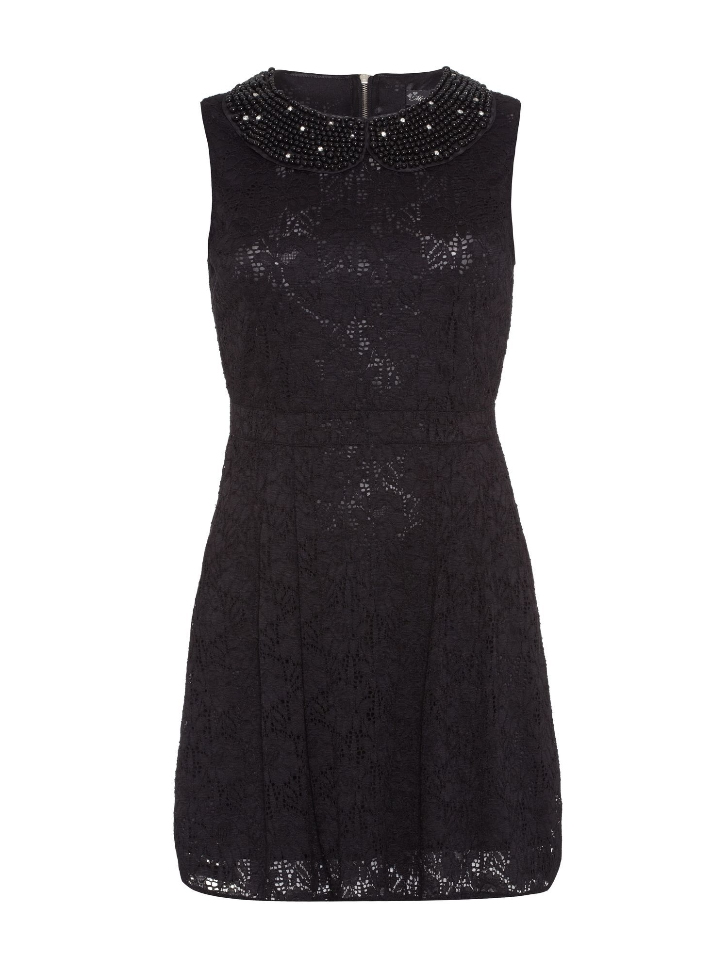 Beaded collar lace dress