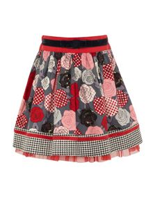Girls printed flower skirt