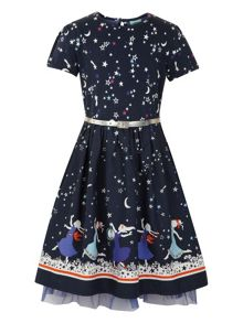 Girls star printed hem dress