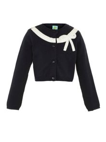Girls bow applique cardi