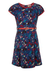 Girls ditsy flower folk dress