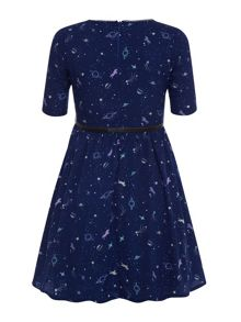 Girls cosmic print dress