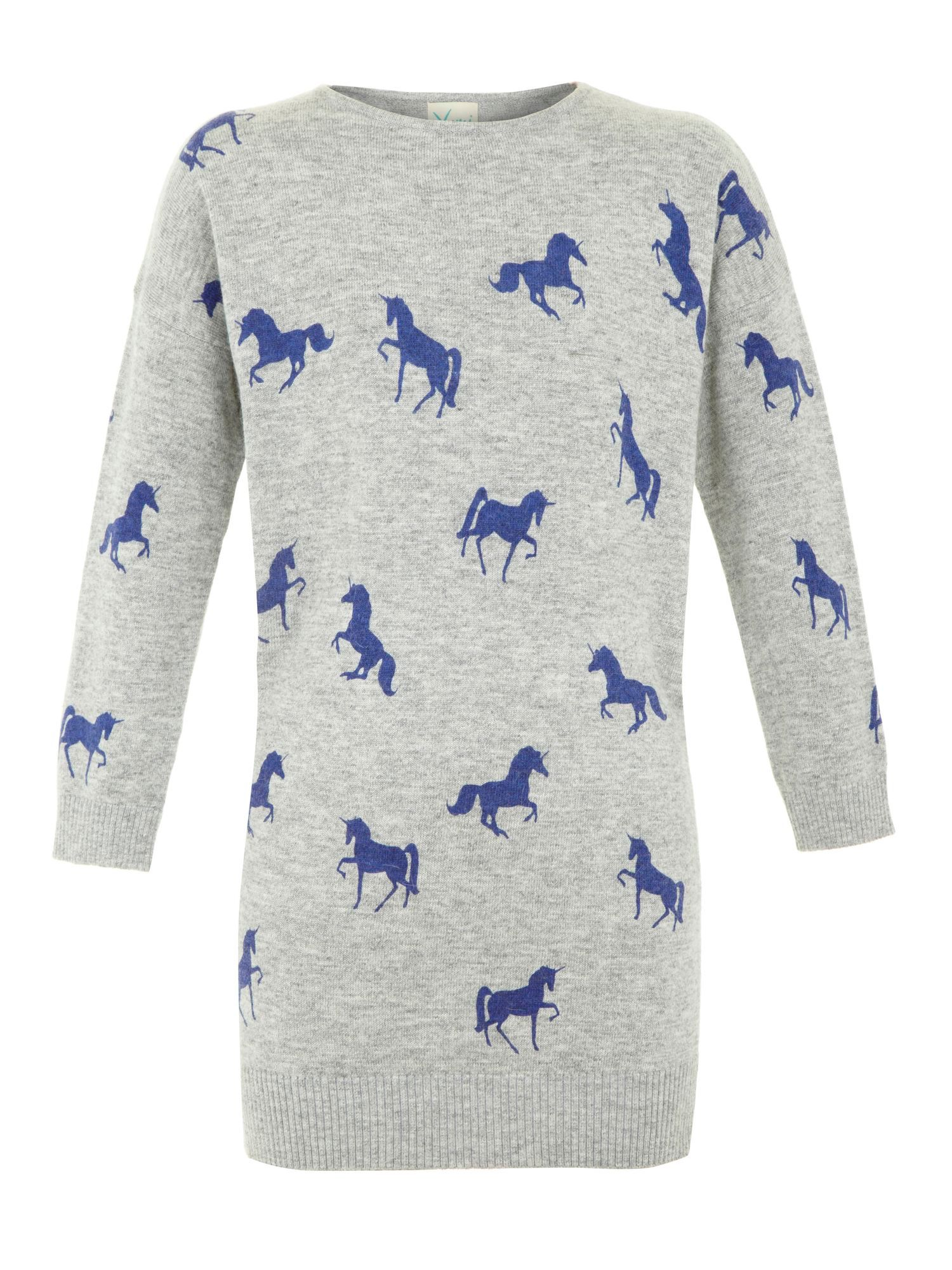 Girls space unicorn jumper dress
