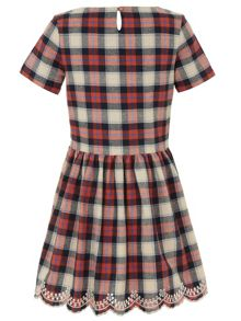 Yumi Girls Girls  embroidered check dress