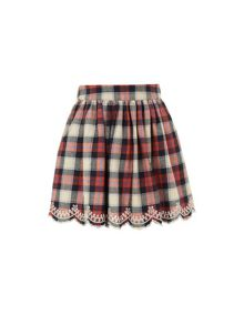 Girls embroidered check skirt