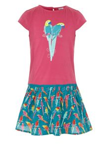 Girl`s parrot placement print dress
