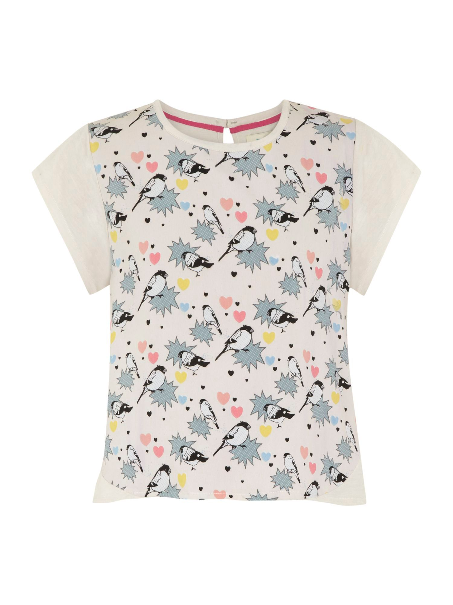 Girl`s pop art bird t-shirt