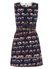 Girl`s glasses print dress