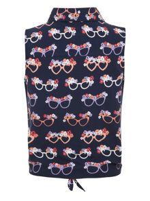 Yumi Girls Girl`s glasses print tie shirt