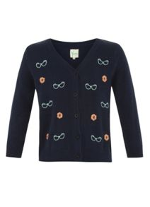 Yumi Girls Girl`s glasses embroidered cardigan