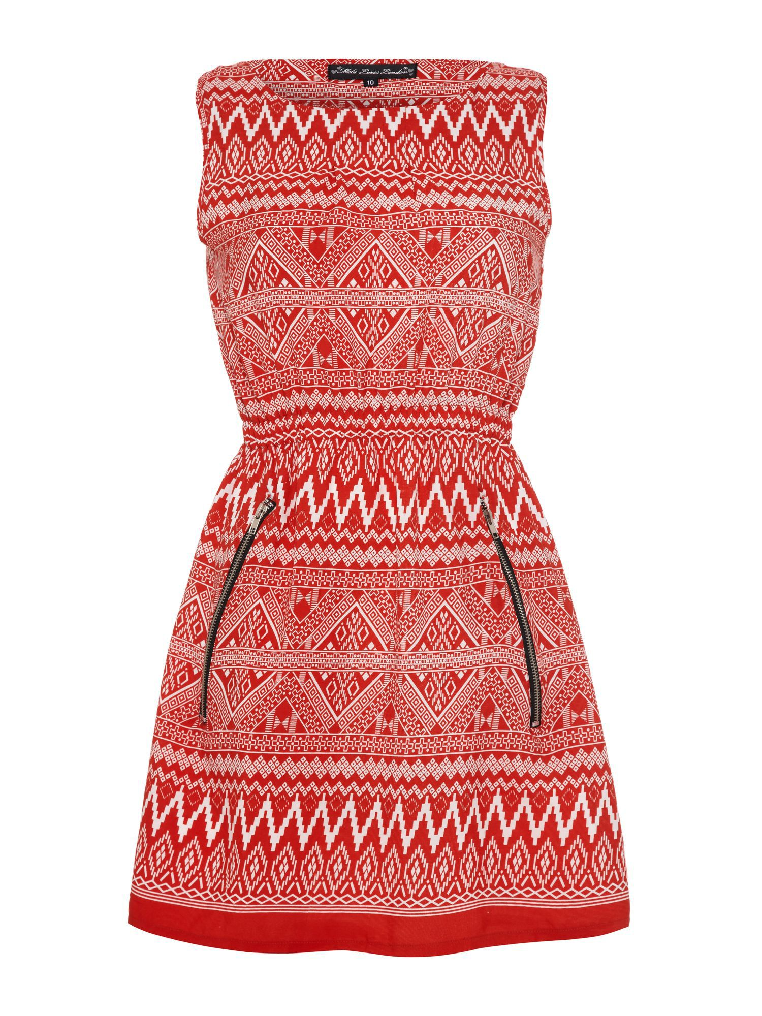 Aztec print zip dress