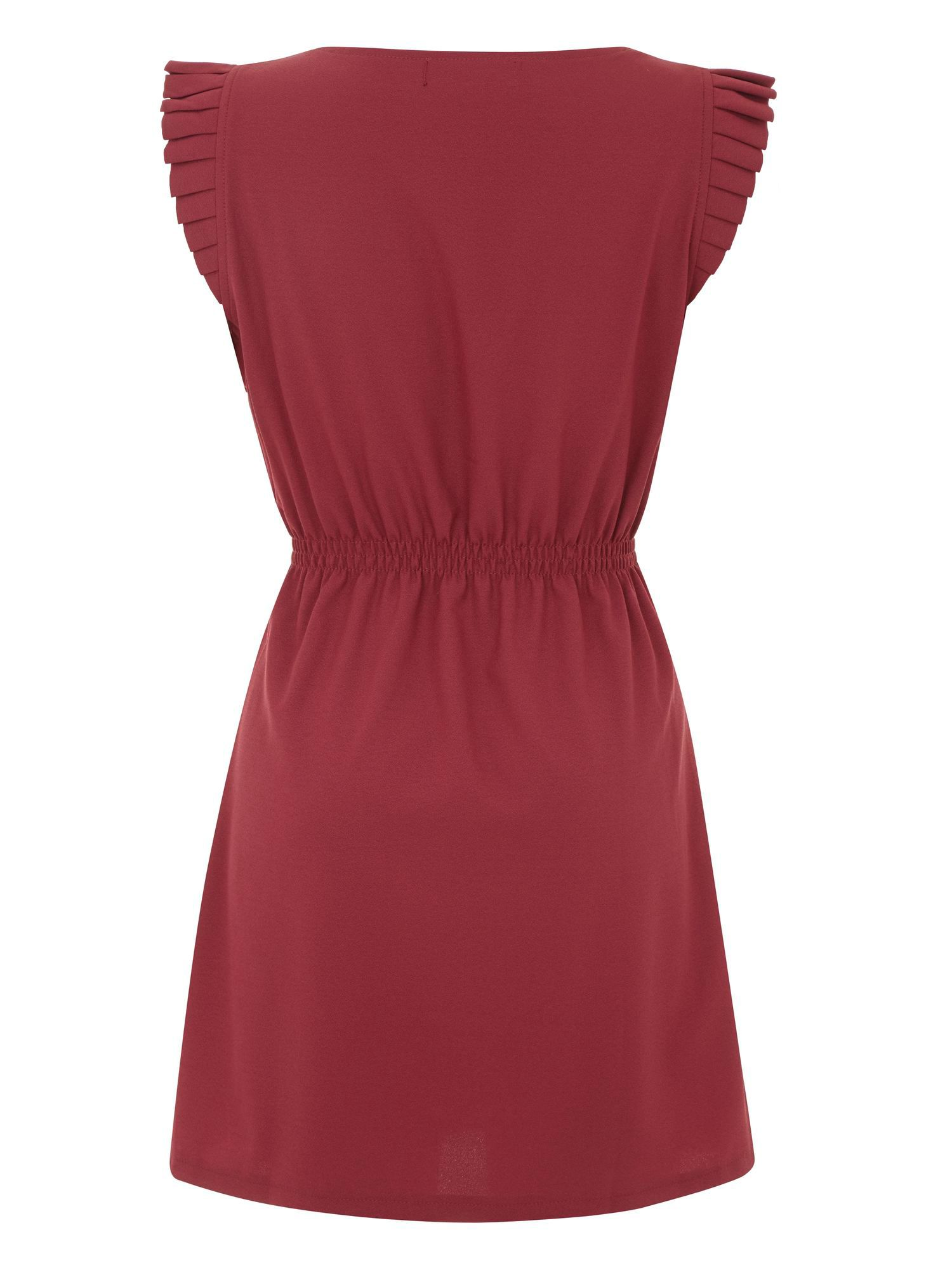 Pleated cap sleeve dress
