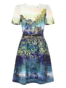 Trees and Bluebell Print Dress