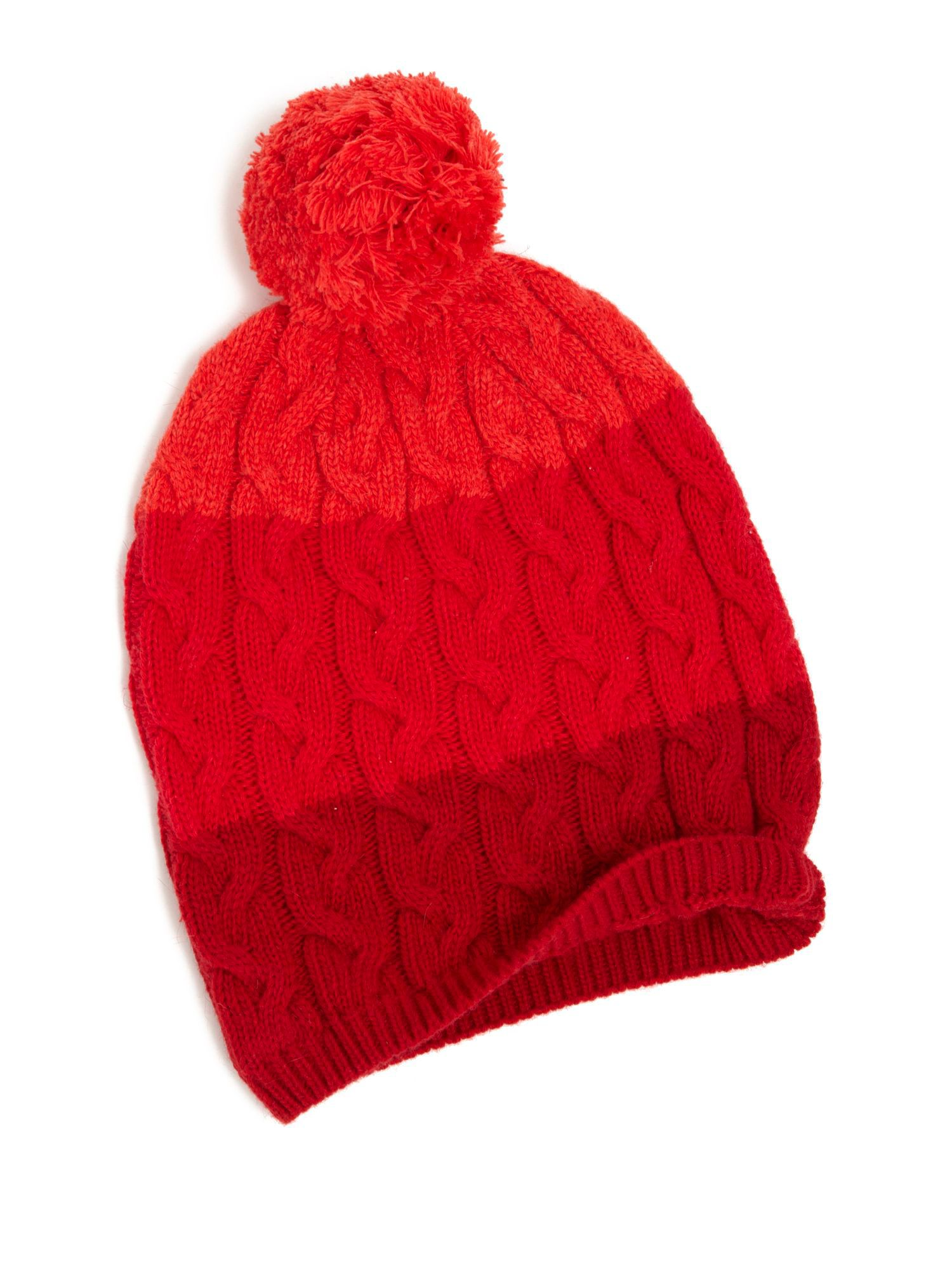 Yumi Striped Bobble Hat Red
