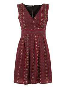 Aztec Print Tie Back Dress