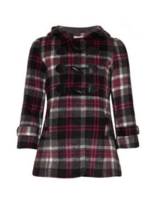 Girls checked duffle coat