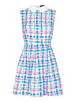 Check print collar dress