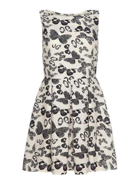 Mela London Butterfly Print Zip Black Dress