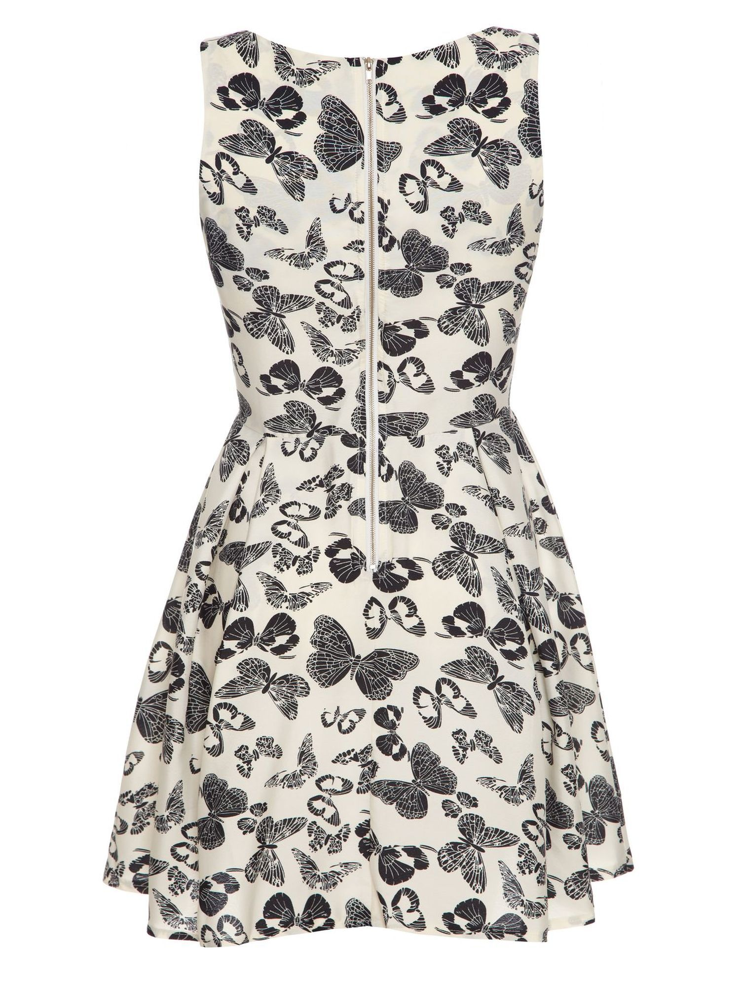 Butterfly Print Zip Black Dress