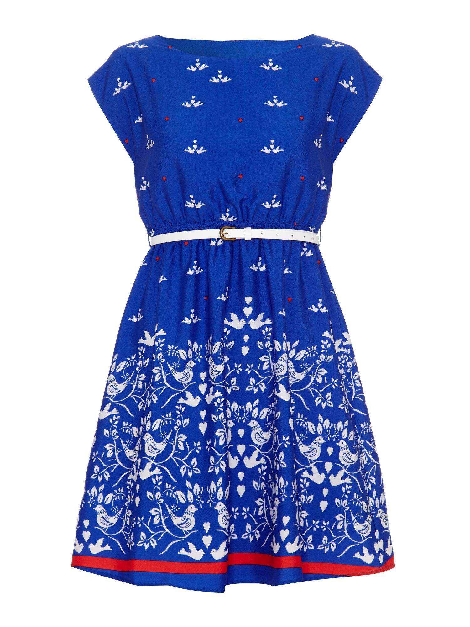 Bird and Heart Print Belted Dress