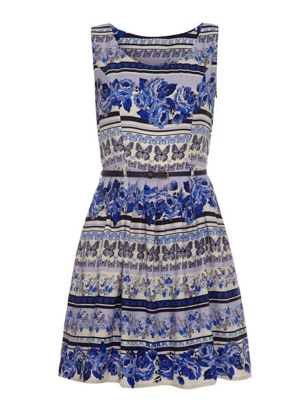 Mela London Butterfly and Rose Print Belted Dress