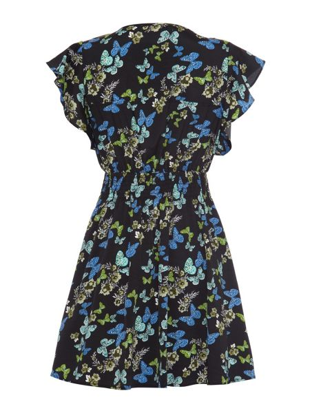 Mela Loves London Butterfly Print Lace Detailed Dress