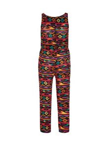 Yumi Girls Multi-coloured tribal print jumpsuit