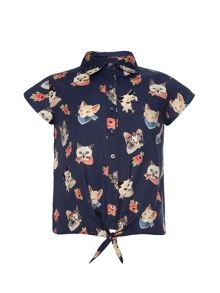 Cat face print tie-front shirt