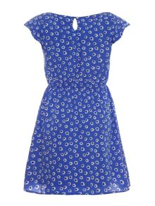 Daisy print peasant dress