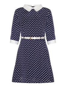 Girls white collar heart polka dot print dress