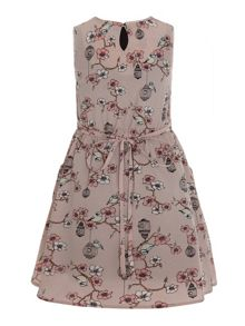 Floral and bird cage print dress