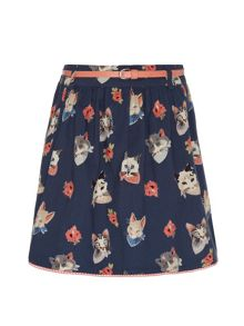 Cat face print skirt