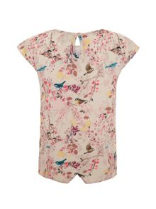 Girls eastern bird print top