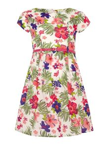 Yumi Girls Tropical floral print dress