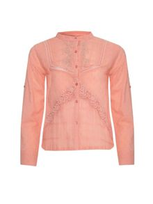 Yumi Girls Girls cotton mix button down grandad shirt