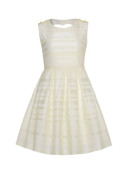 Yumi Girls Girls textured stripe dress