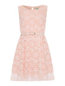 Girls pastel floral lace dress