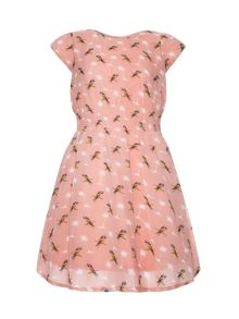 Girls parrot and palm tree dress