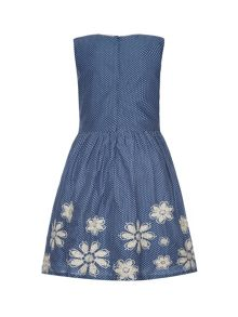 Pin dot print dress with embroidered hem