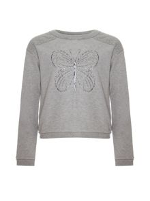 Girls butterfly print sweatshirt