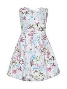 Girls textured floral print dress