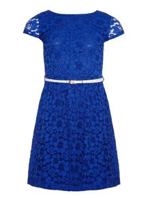 Girls lace dress with contrasting belt